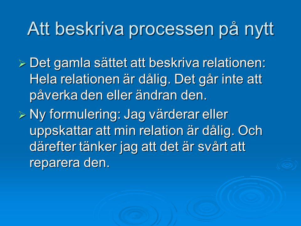 Att beskriva processen på nytt  Det gamla sättet att beskriva relationen: Hela relationen är dålig. Det går inte att påverka den eller ändran den. 