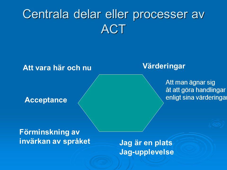 Centrala delar eller processer av ACT Att vara här och nu Acceptance Förminskning av invärkan av språket Jag är en plats Jag-upplevelse Att man ägnar sig åt att göra handlingar enligt sina värderingar Värderingar
