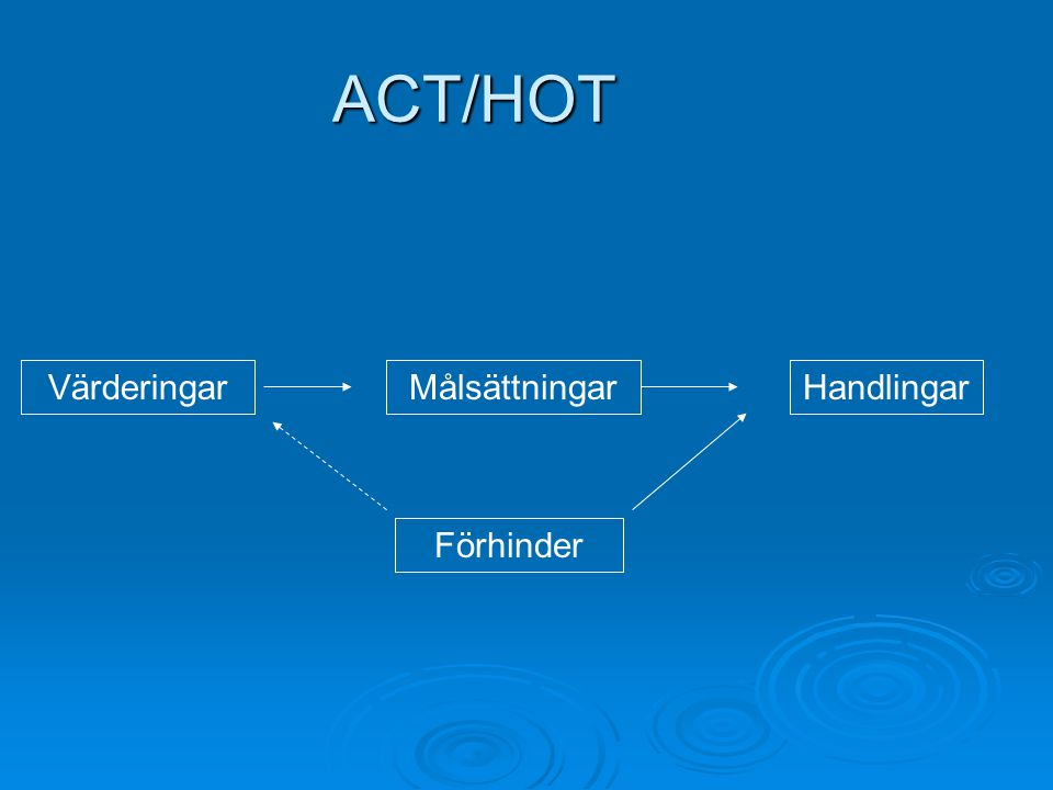 ACT/HOT VärderingarMålsättningar Förhinder Handlingar