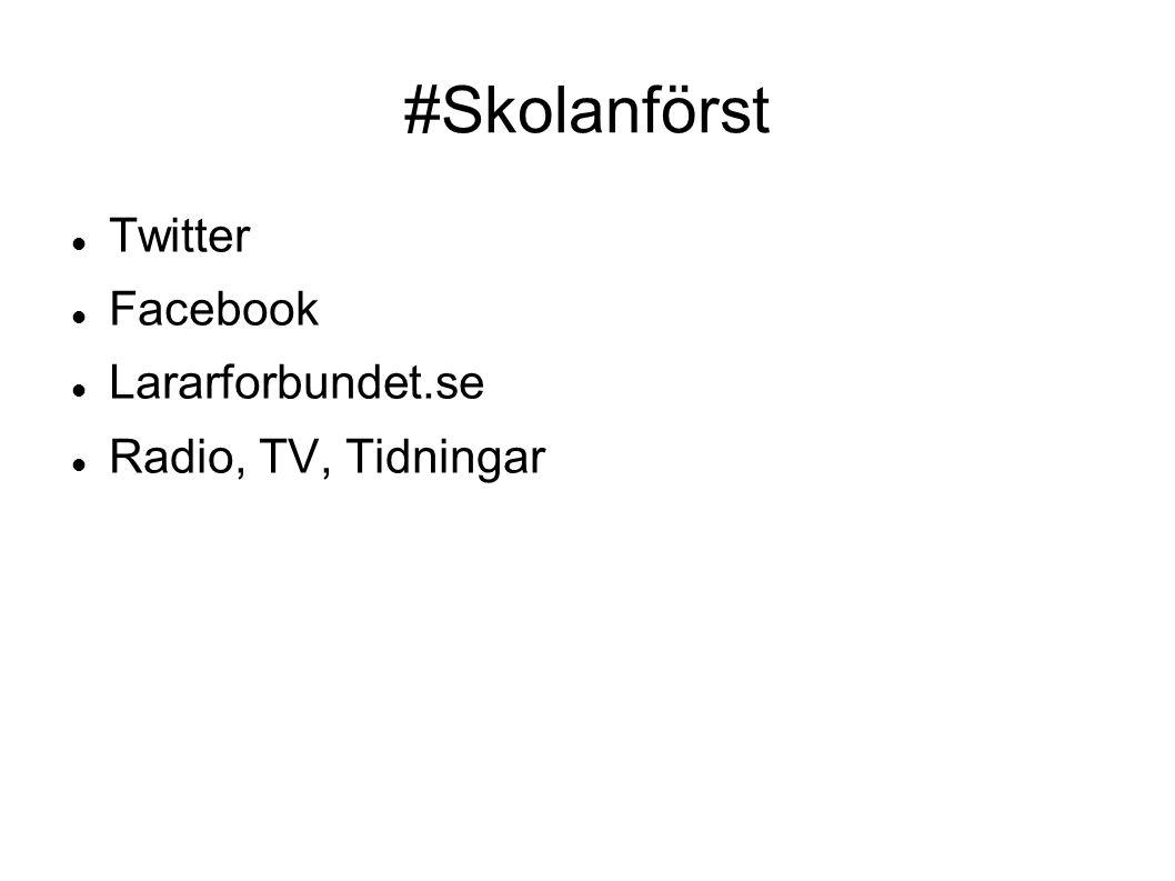 #Skolanförst Twitter Facebook Lararforbundet.se Radio, TV, Tidningar