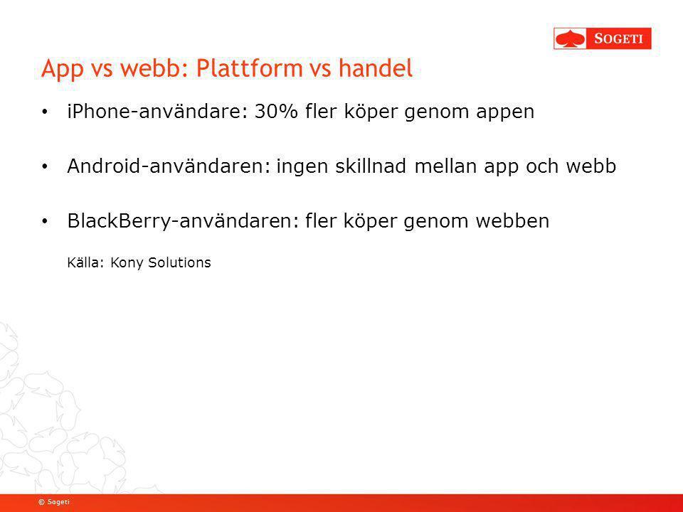 © Sogeti App vs webb: Plattform vs handel iPhone-användare: 30% fler köper genom appen Android-användaren: ingen skillnad mellan app och webb BlackBer