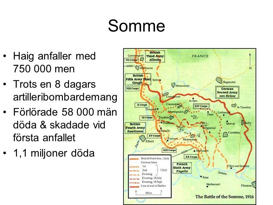 Somme Haig anfaller med 750 000 men Trots en 8 dagars artilleribombardemang Förlörade 58 000 män döda & skadade vid första anfallet 1,1 miljoner döda