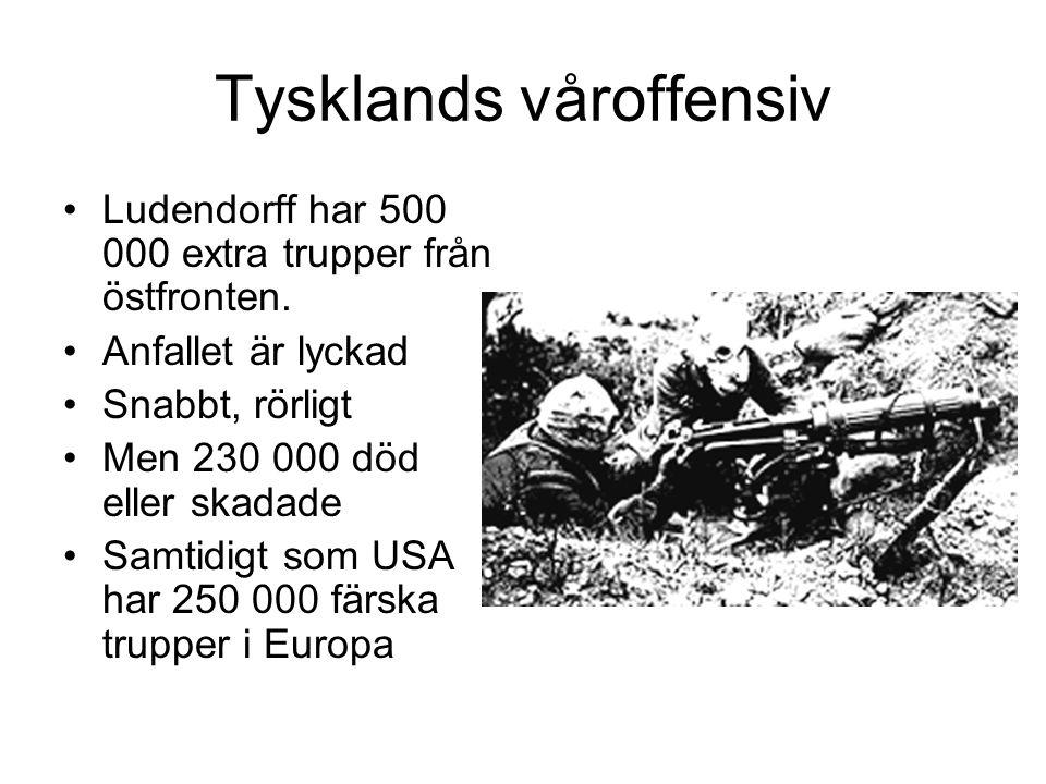 Tysklands våroffensiv Ludendorff har 500 000 extra trupper från östfronten. Anfallet är lyckad Snabbt, rörligt Men 230 000 död eller skadade Samtidigt