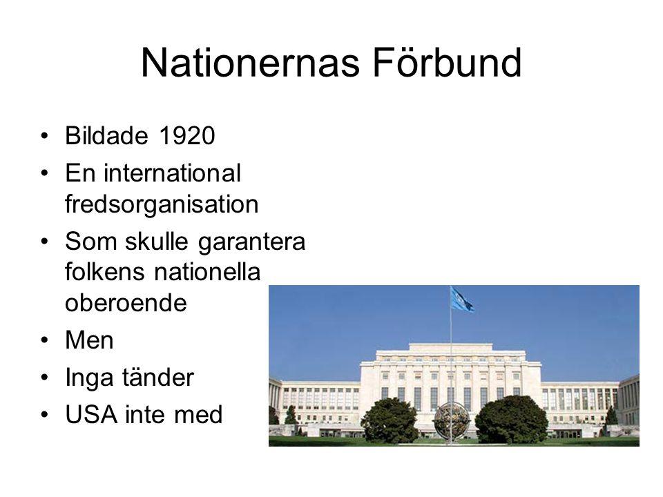 Nationernas Förbund Bildade 1920 En international fredsorganisation Som skulle garantera folkens nationella oberoende Men Inga tänder USA inte med