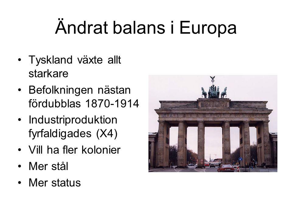 Ändrat balans i Europa Tyskland växte allt starkare Befolkningen nästan fördubblas 1870-1914 Industriproduktion fyrfaldigades (X4) Vill ha fler koloni