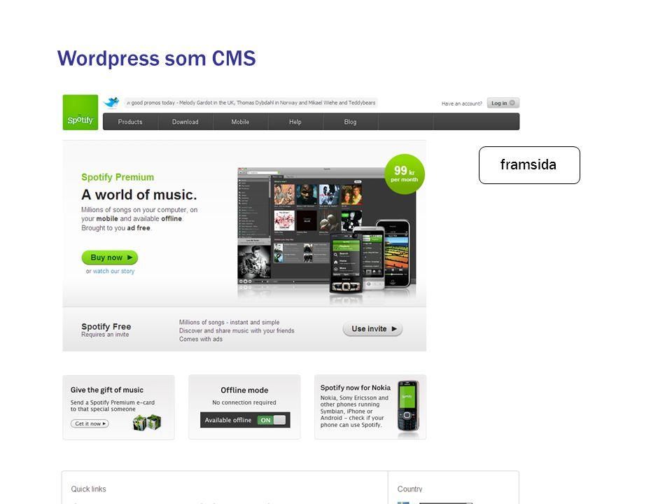Wordpress som CMS framsida
