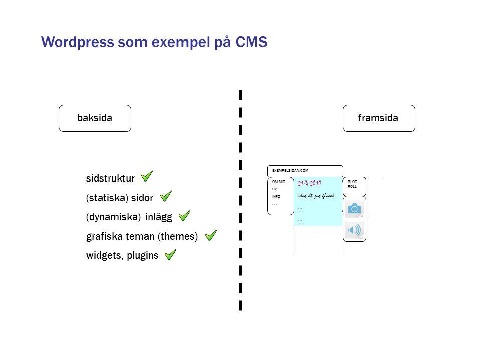 Wordpress som exempel på CMS framsidabaksida sidstruktur (statiska) sidor (dynamiska) inlägg grafiska teman (themes) widgets, plugins OM MIG CV INFO..
