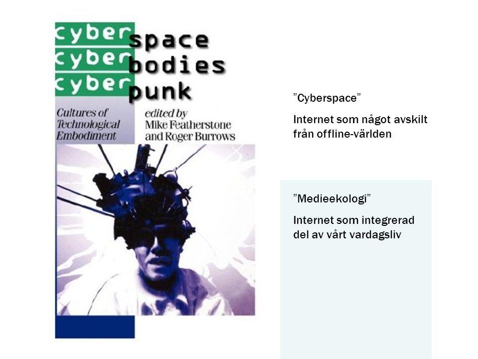 """""""Cyberspace"""" Internet som något avskilt från offline-världen """"Medieekologi"""" Internet som integrerad del av vårt vardagsliv"""
