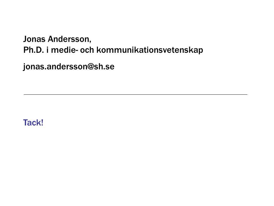 Tack! Jonas Andersson, Ph.D. i medie- och kommunikationsvetenskap jonas.andersson@sh.se