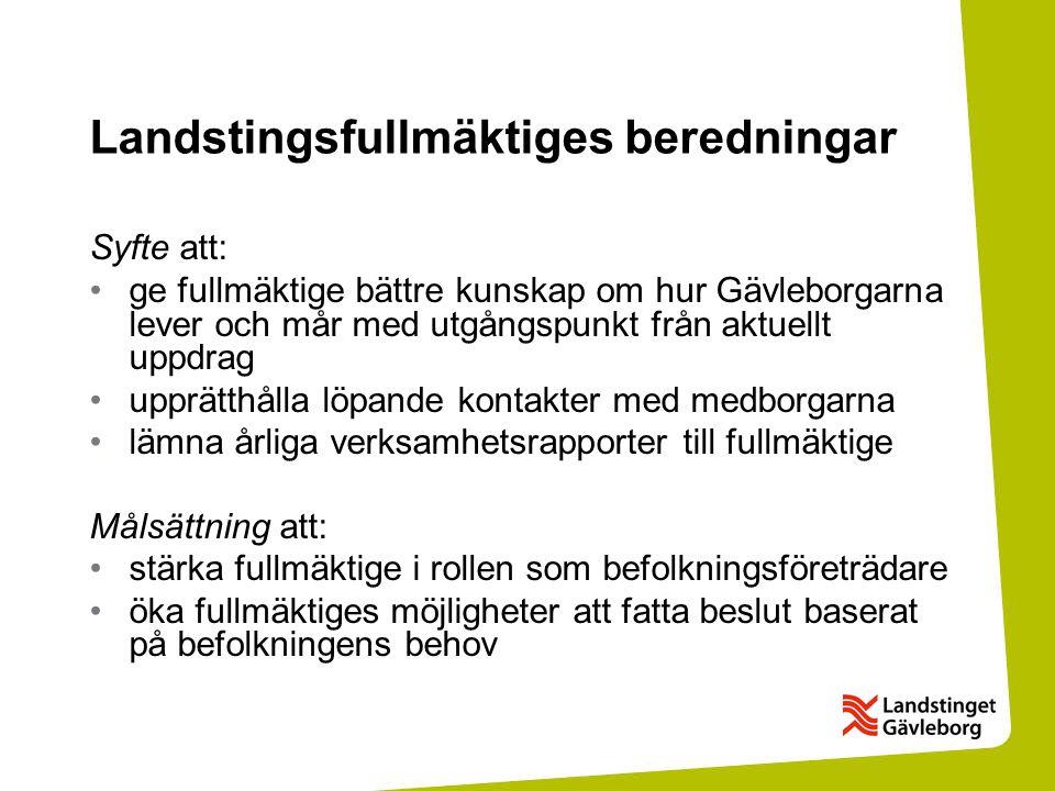 Landstingsfullmäktiges beredningar Syfte att: ge fullmäktige bättre kunskap om hur Gävleborgarna lever och mår med utgångspunkt från aktuellt uppdrag