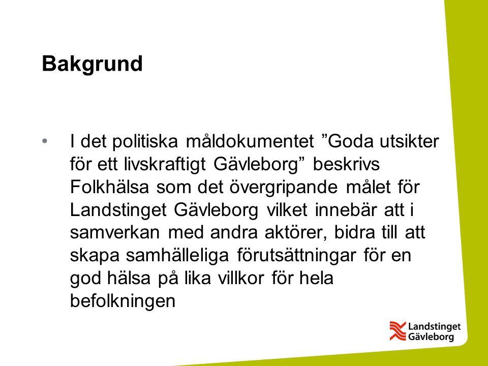 """Bakgrund I det politiska måldokumentet """"Goda utsikter för ett livskraftigt Gävleborg"""" beskrivs Folkhälsa som det övergripande målet för Landstinget Gä"""