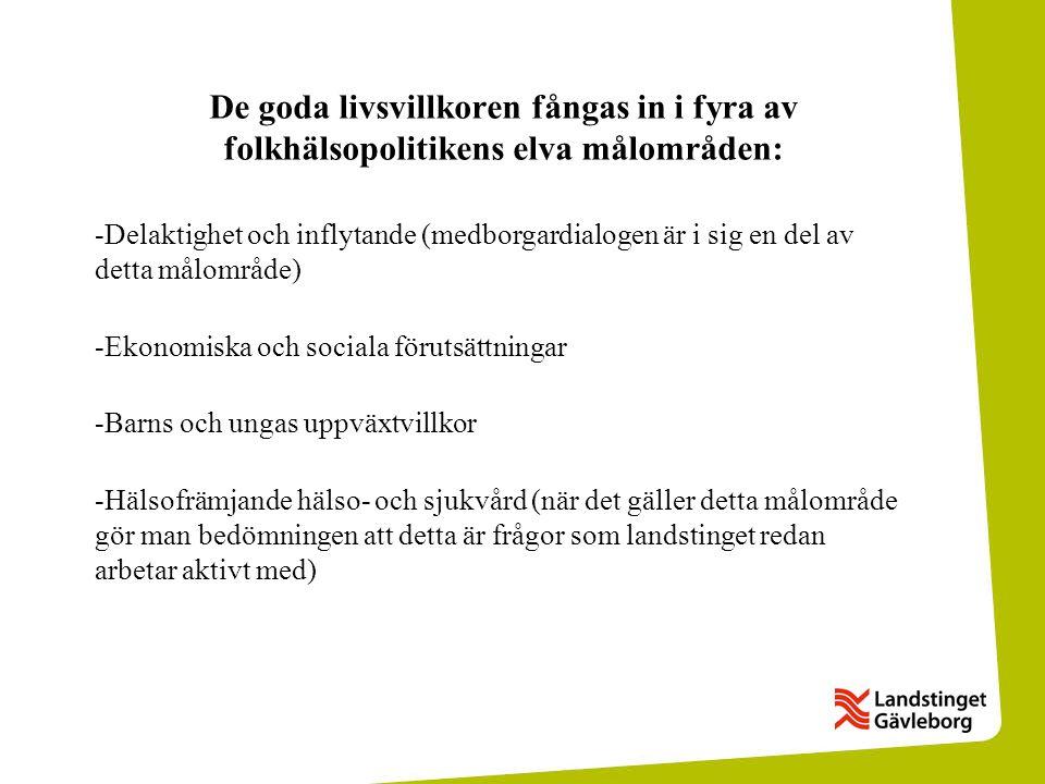 De goda livsvillkoren fångas in i fyra av folkhälsopolitikens elva målområden: -Delaktighet och inflytande (medborgardialogen är i sig en del av detta