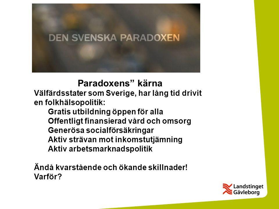 """Paradoxens"""" kärna Välfärdsstater som Sverige, har lång tid drivit en folkhälsopolitik: Gratis utbildning öppen för alla Offentligt finansierad vård oc"""