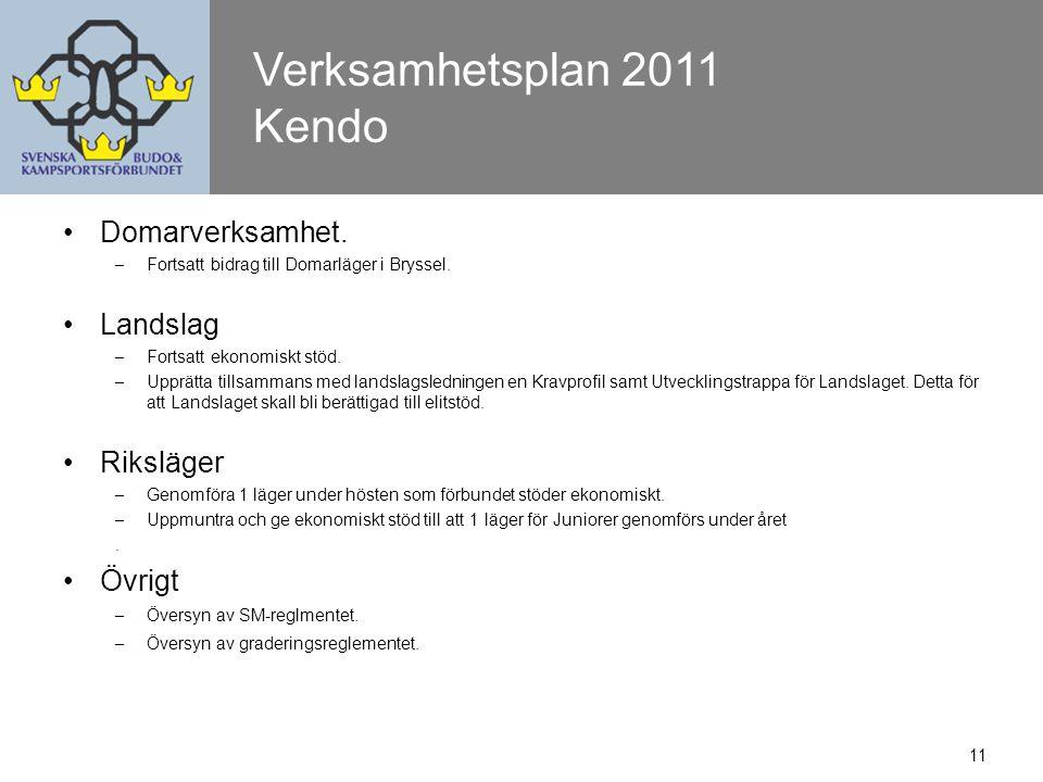 11 Verksamhetsplan 2011 Kendo Domarverksamhet. – Fortsatt bidrag till Domarläger i Bryssel.