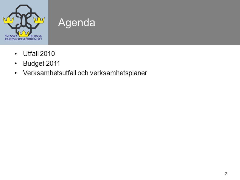 2 Agenda Utfall 2010 Budget 2011 Verksamhetsutfall och verksamhetsplaner