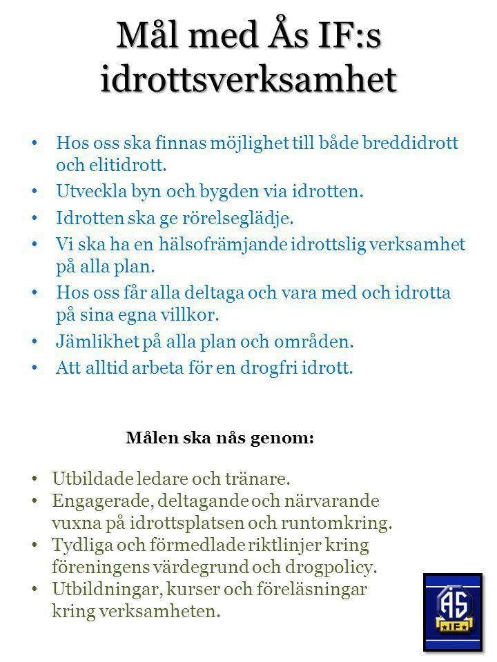 Mål med Ås IF:s idrottsverksamhet Hos oss ska finnas möjlighet till både breddidrott och elitidrott. Utveckla byn och bygden via idrotten. Idrotten sk