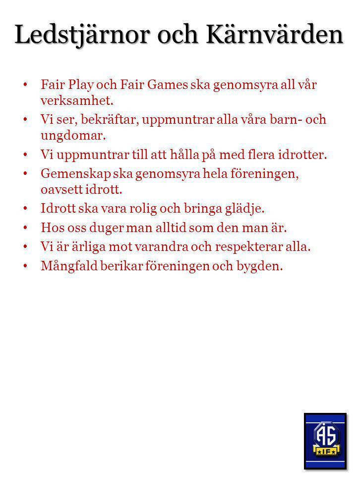 Ledstjärnor och Kärnvärden Fair Play och Fair Games ska genomsyra all vår verksamhet. Vi ser, bekräftar, uppmuntrar alla våra barn- och ungdomar. Vi u