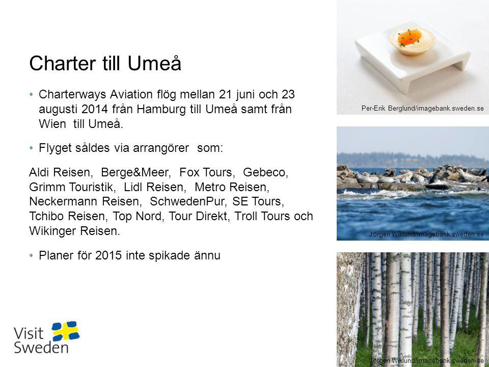 Sv Charter till Umeå Charterways Aviation flög mellan 21 juni och 23 augusti 2014 från Hamburg till Umeå samt från Wien till Umeå. Flyget såldes via a