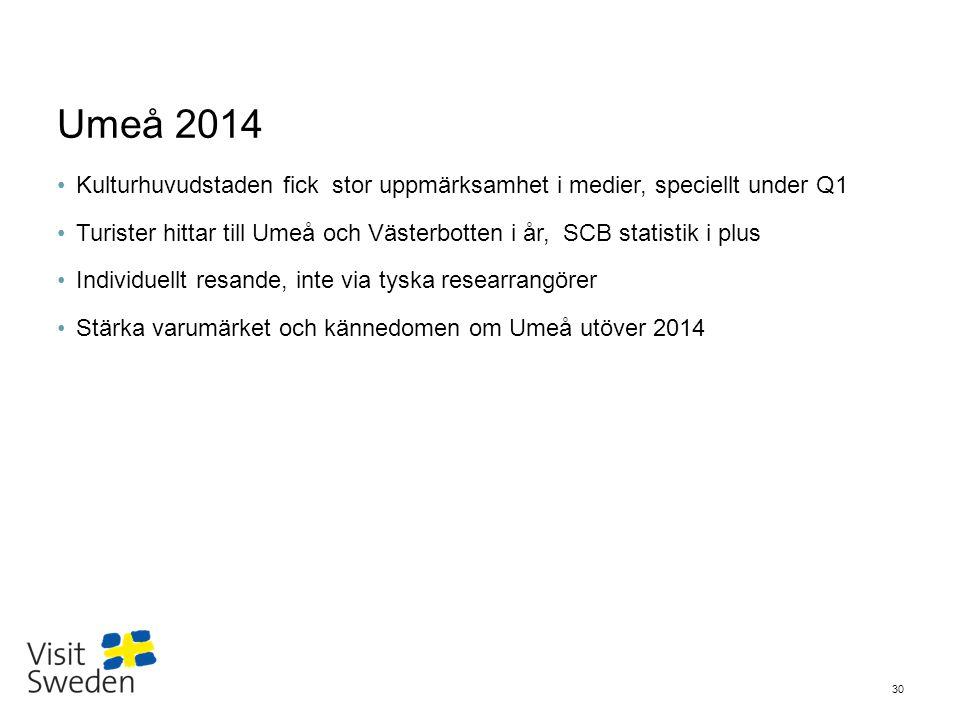 Sv Umeå 2014 Kulturhuvudstaden fick stor uppmärksamhet i medier, speciellt under Q1 Turister hittar till Umeå och Västerbotten i år, SCB statistik i p