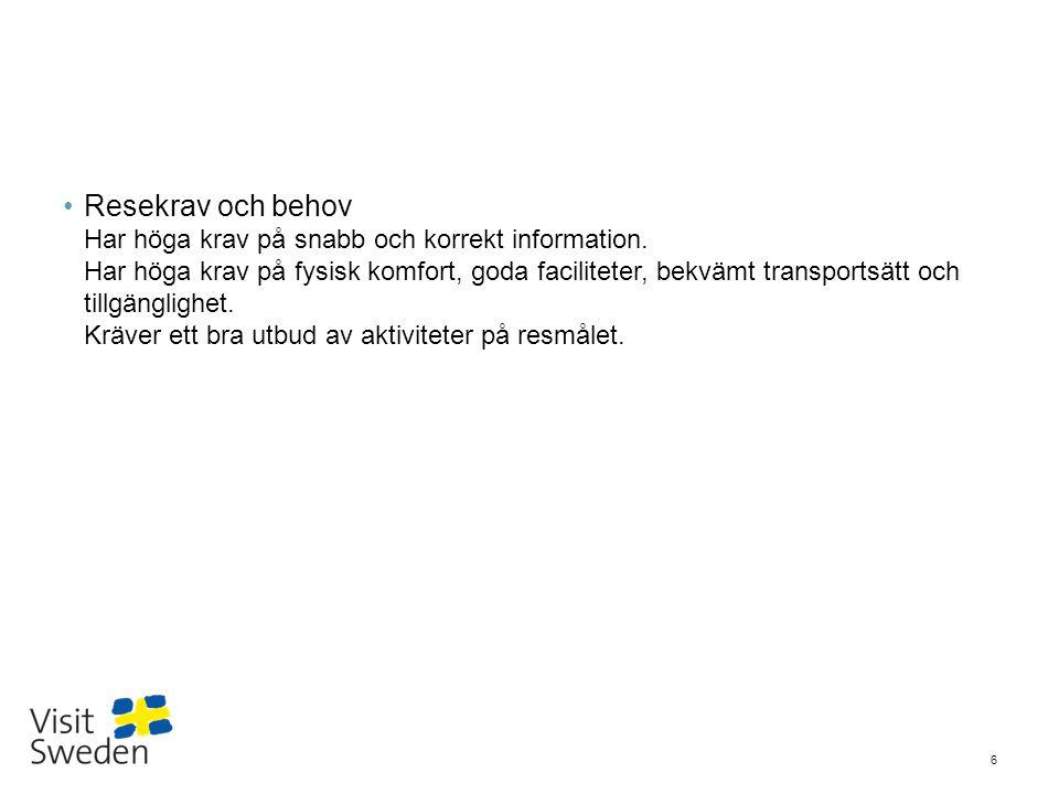 Sv Andel tyskar som reser utomlands och som svarade att de känner till Sverige ganska/ mycket bra som: 17