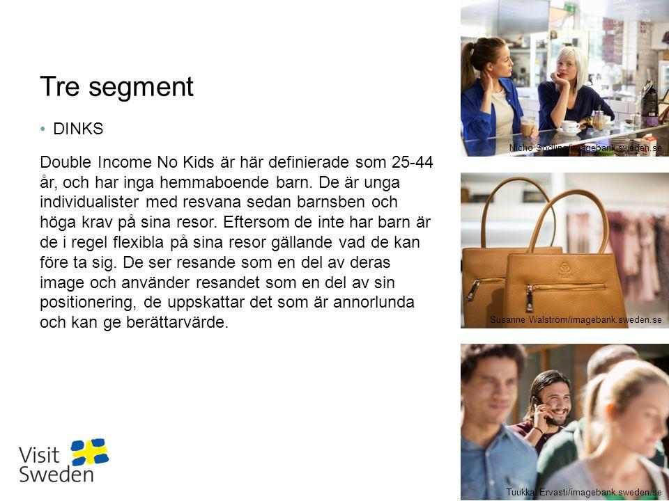 Sv Tre segment DINKS Double Income No Kids är här definierade som 25-44 år, och har inga hemmaboende barn. De är unga individualister med resvana seda