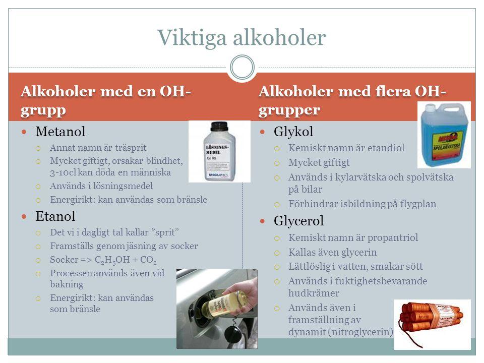 Alkoholer med en OH- grupp Alkoholer med flera OH- grupper Metanol  Annat namn är träsprit  Mycket giftigt, orsakar blindhet, 3-10cl kan döda en män
