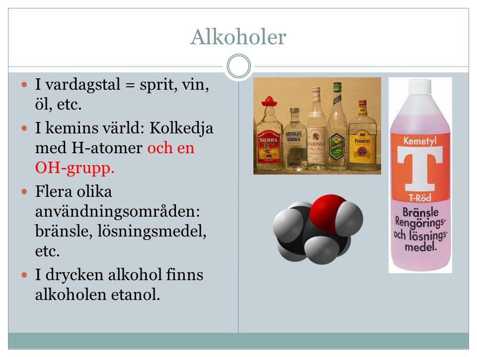 Alkoholer I vardagstal = sprit, vin, öl, etc. I kemins värld: Kolkedja med H-atomer och en OH-grupp. Flera olika användningsområden: bränsle, lösnings