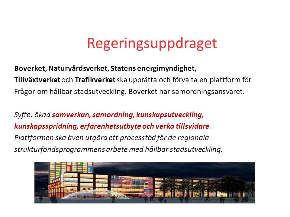 Regeringsuppdraget Boverket, Naturvårdsverket, Statens energimyndighet, Tillväxtverket och Trafikverket ska upprätta och förvalta en plattform för Frågor om hållbar stadsutveckling.