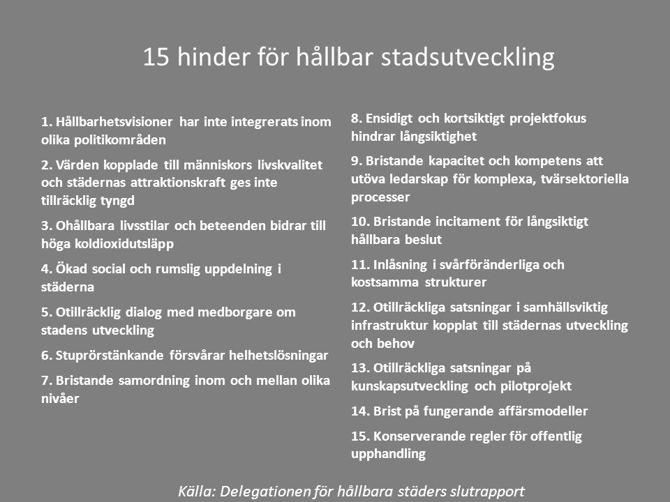 15 hinder för hållbar stadsutveckling 1.