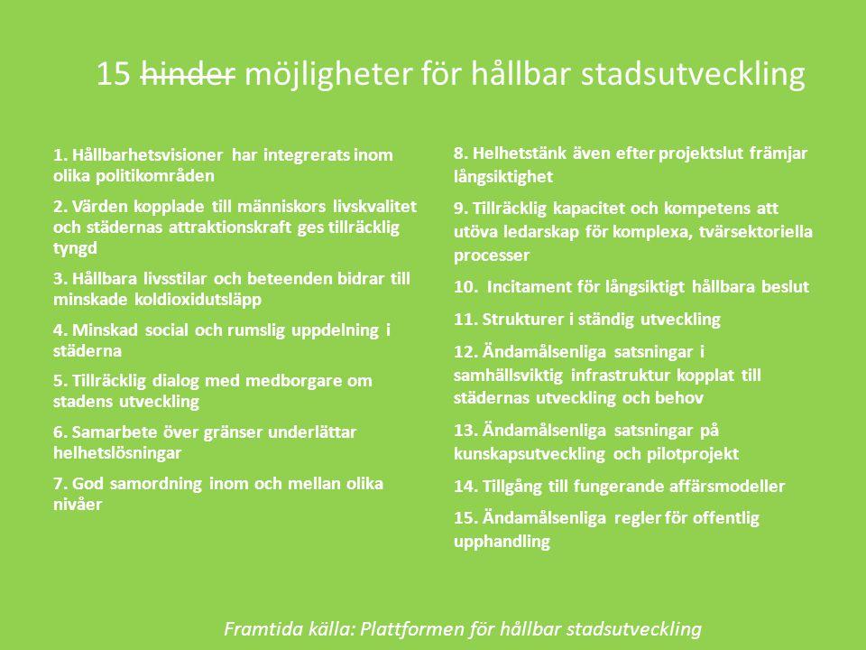 15 hinder möjligheter för hållbar stadsutveckling 1.