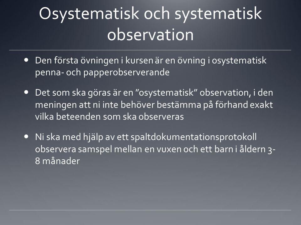 Osystematisk och systematisk observation Den första övningen i kursen är en övning i osystematisk penna- och papperobserverande Det som ska göras är e