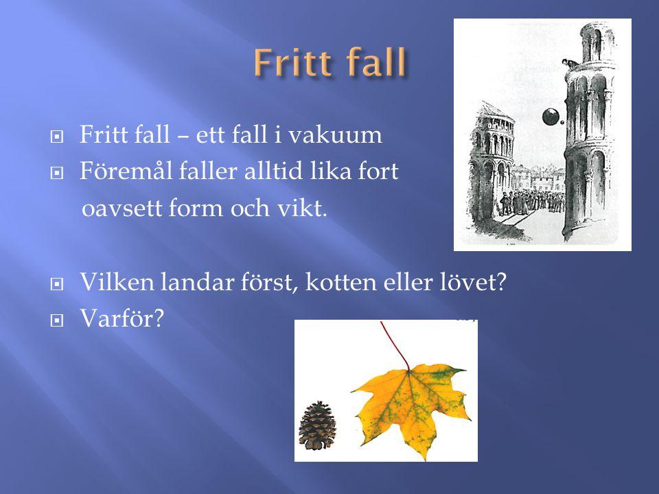  Fritt fall – ett fall i vakuum  Föremål faller alltid lika fort oavsett form och vikt.  Vilken landar först, kotten eller lövet?  Varför?