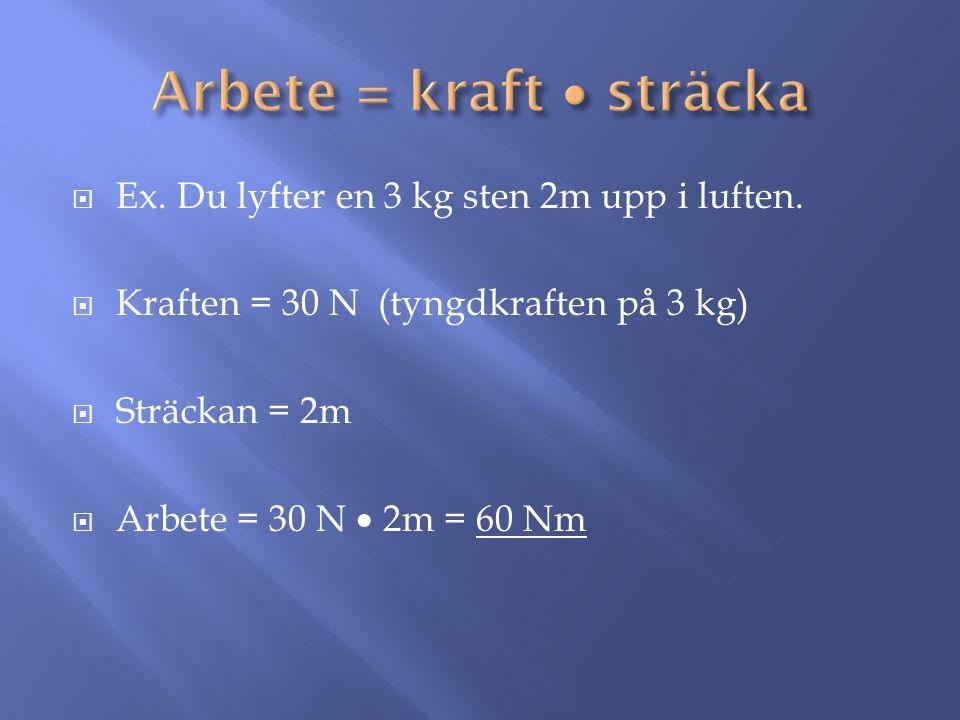  Ex. Du lyfter en 3 kg sten 2m upp i luften.  Kraften = 30 N (tyngdkraften på 3 kg)  Sträckan = 2m  Arbete = 30 N  2m = 60 Nm