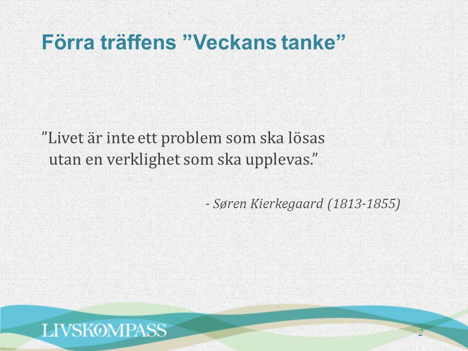 """Förra träffens """"Veckans tanke"""" """"Livet är inte ett problem som ska lösas utan en verklighet som ska upplevas."""" - Søren Kierkegaard (1813-1855) 2"""