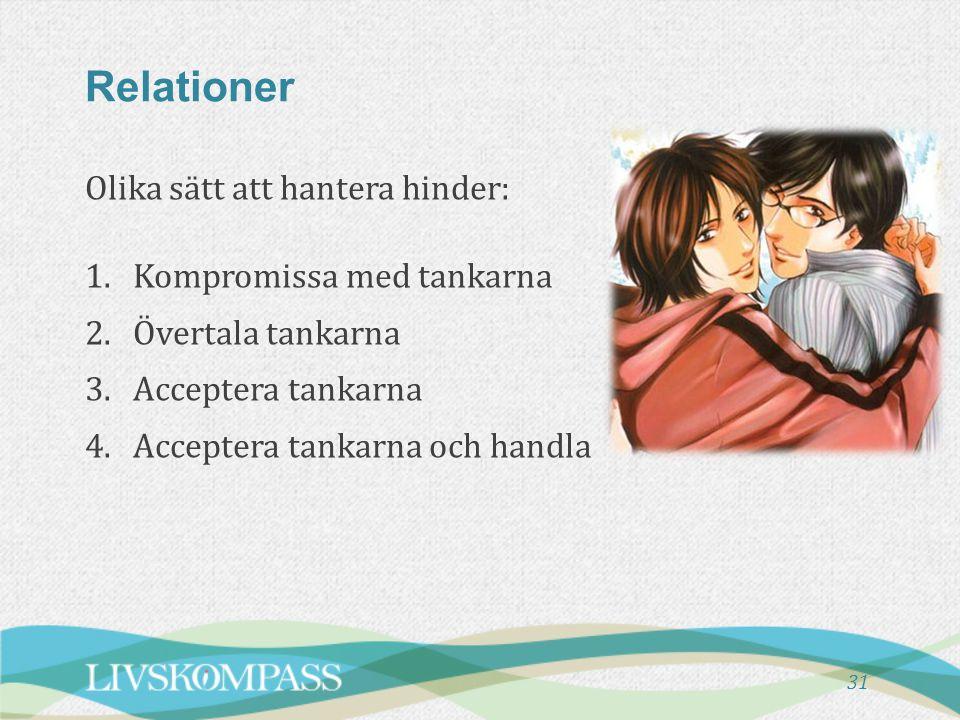 Relationer 31 Olika sätt att hantera hinder: 1.Kompromissa med tankarna 2.Övertala tankarna 3.Acceptera tankarna 4.Acceptera tankarna och handla