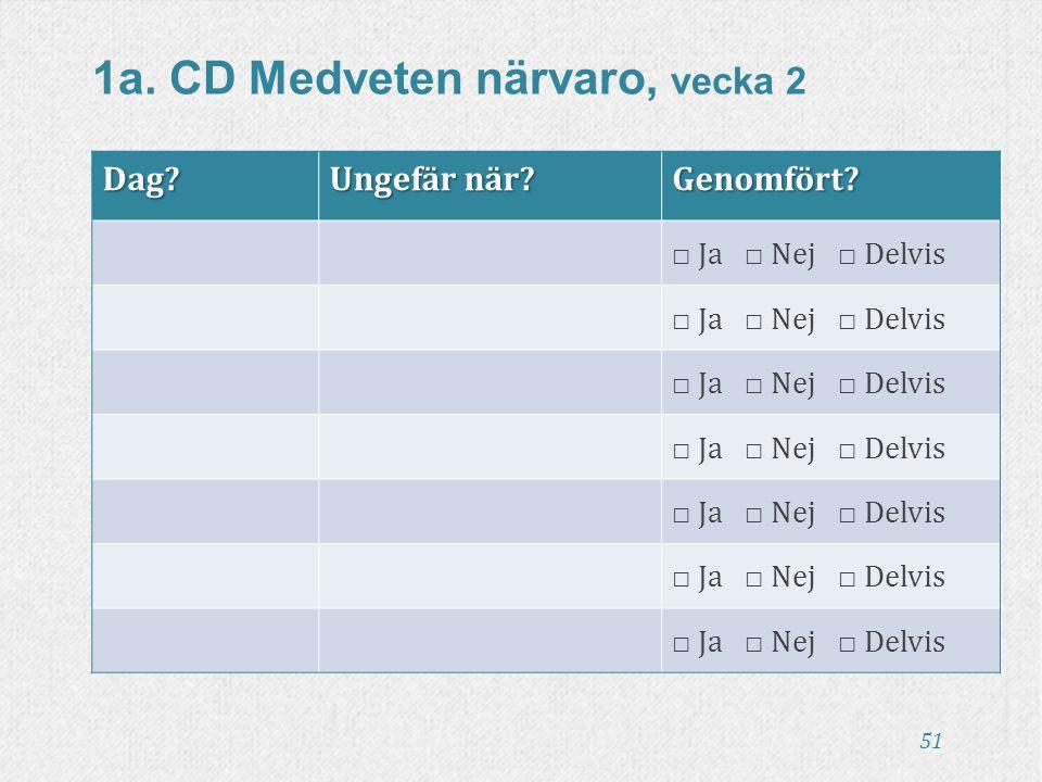 51 1a. CD Medveten närvaro, vecka 2Dag? Ungefär när? Genomfört? □ Ja □ Nej □ Delvis