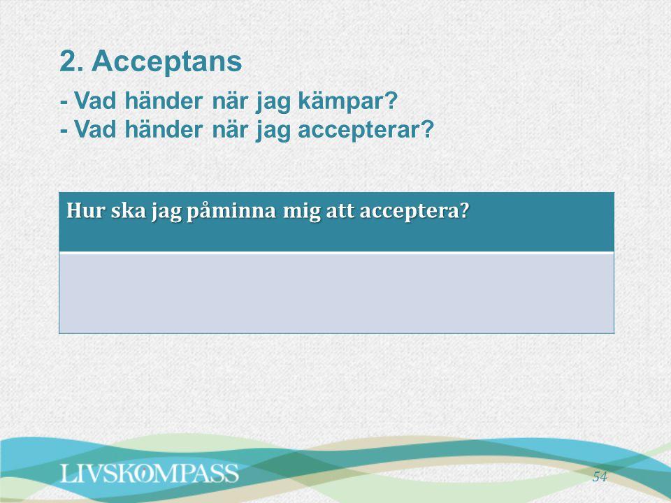 2. Acceptans - Vad händer när jag kämpar? - Vad händer när jag accepterar? 54 Hur ska jag påminna mig att acceptera?