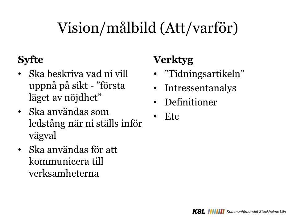 """Vision/målbild (Att/varför) Syfte Ska beskriva vad ni vill uppnå på sikt - """"första läget av nöjdhet"""" Ska användas som ledstång när ni ställs inför väg"""