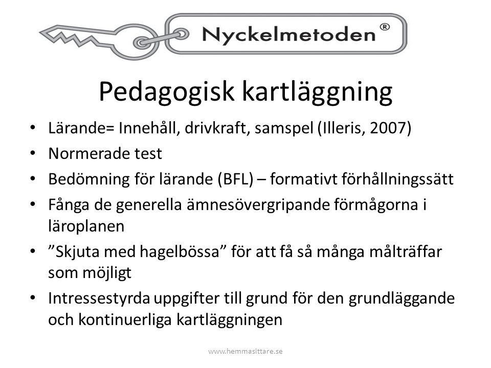 Pedagogisk kartläggning Lärande= Innehåll, drivkraft, samspel (Illeris, 2007) Normerade test Bedömning för lärande (BFL) – formativt förhållningssätt