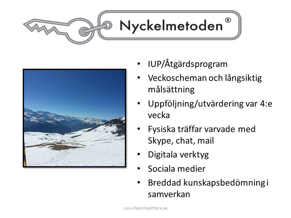 IUP/Åtgärdsprogram Veckoscheman och långsiktig målsättning Uppföljning/utvärdering var 4:e vecka Fysiska träffar varvade med Skype, chat, mail Digital