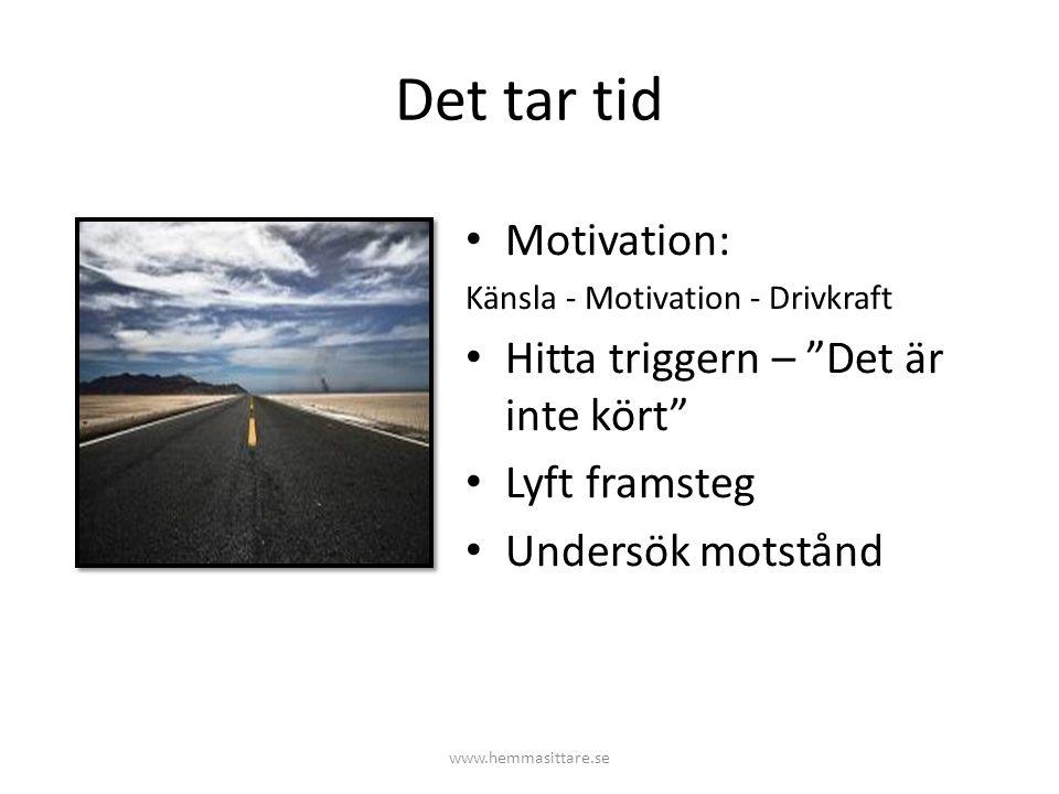 """Det tar tid Motivation: Känsla - Motivation - Drivkraft Hitta triggern – """"Det är inte kört"""" Lyft framsteg Undersök motstånd www.hemmasittare.se"""