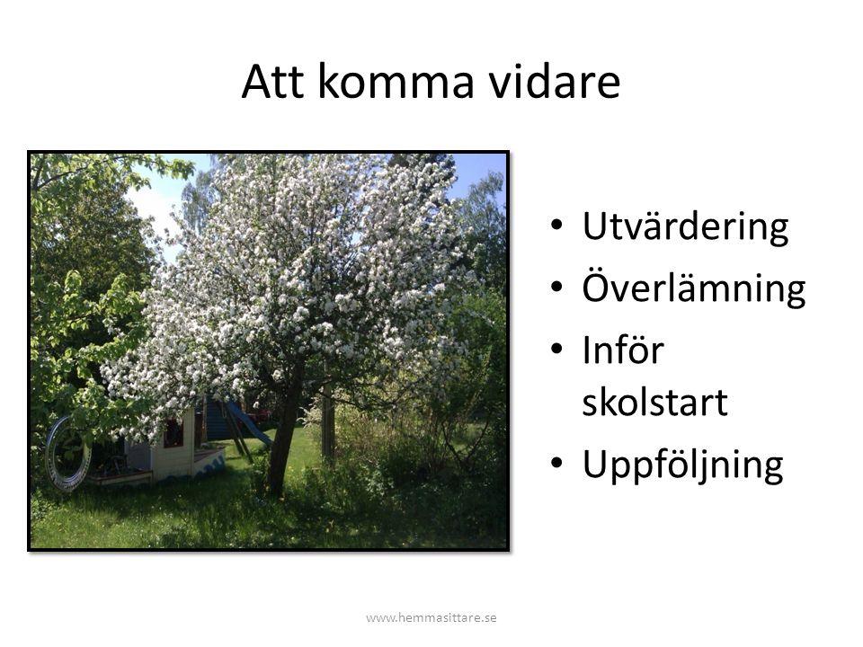Att komma vidare Utvärdering Överlämning Inför skolstart Uppföljning www.hemmasittare.se