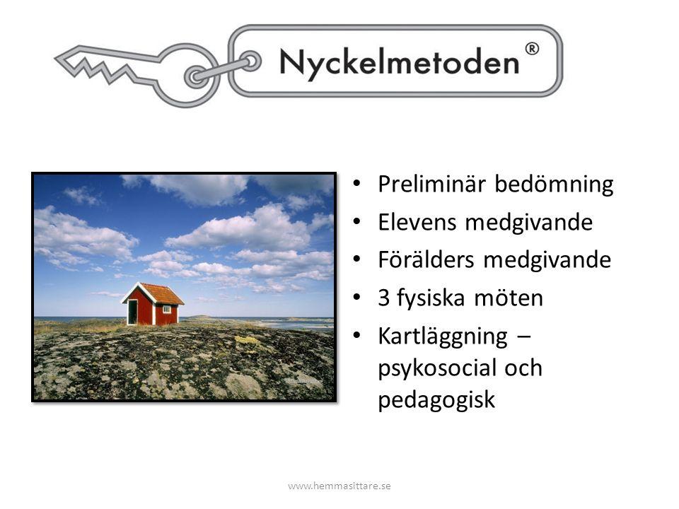 Preliminär bedömning Elevens medgivande Förälders medgivande 3 fysiska möten Kartläggning – psykosocial och pedagogisk www.hemmasittare.se