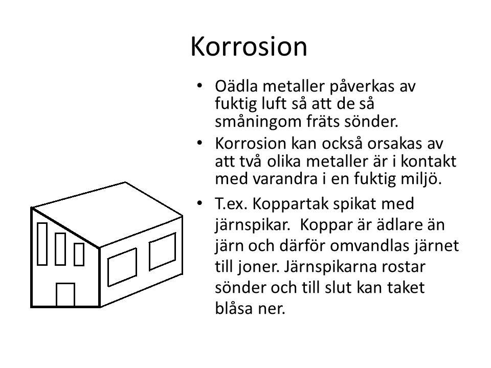 Korrosion Oädla metaller påverkas av fuktig luft så att de så småningom fräts sönder. Korrosion kan också orsakas av att två olika metaller är i konta