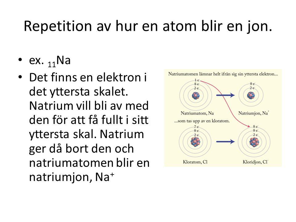 Repetition av hur en atom blir en jon. ex. 11 Na Det finns en elektron i det yttersta skalet. Natrium vill bli av med den för att få fullt i sitt ytte