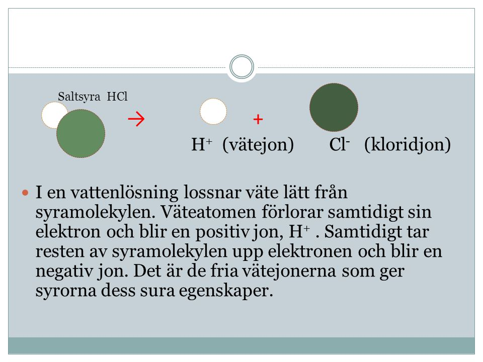 → + H + (vätejon) Cl - (kloridjon) I en vattenlösning lossnar väte lätt från syramolekylen.