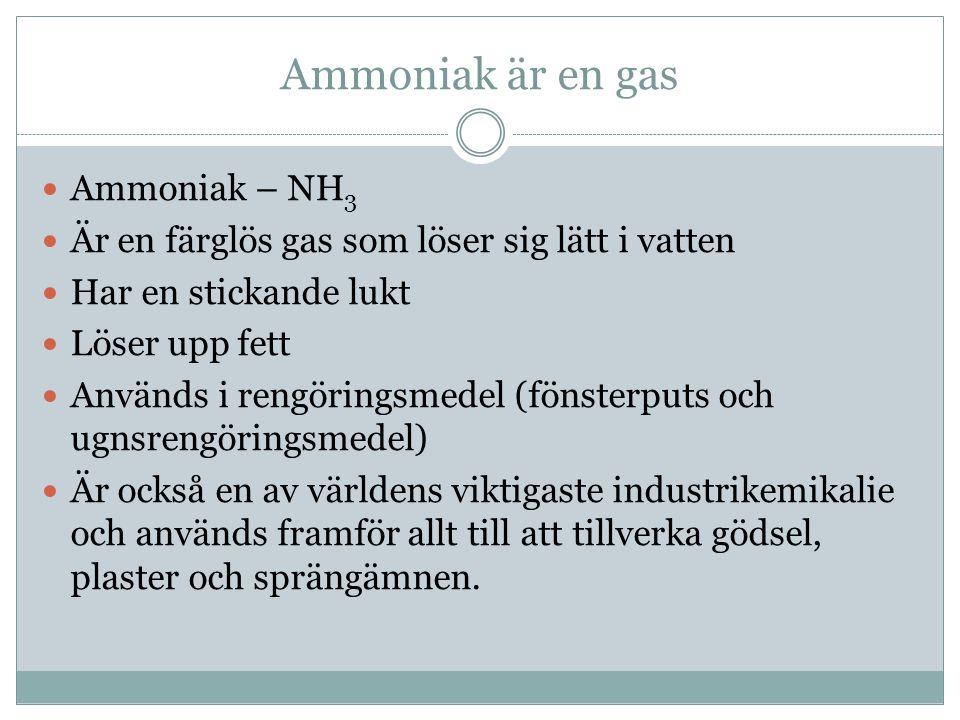Ammoniak är en gas Ammoniak – NH 3 Är en färglös gas som löser sig lätt i vatten Har en stickande lukt Löser upp fett Används i rengöringsmedel (fönsterputs och ugnsrengöringsmedel) Är också en av världens viktigaste industrikemikalie och används framför allt till att tillverka gödsel, plaster och sprängämnen.