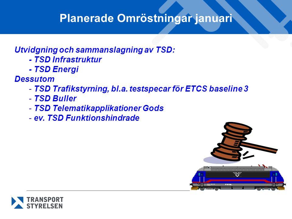 Planerade Omröstningar januari Utvidgning och sammanslagning av TSD: - TSD Infrastruktur - TSD Energi Dessutom - TSD Trafikstyrning, bl.a. testspecar