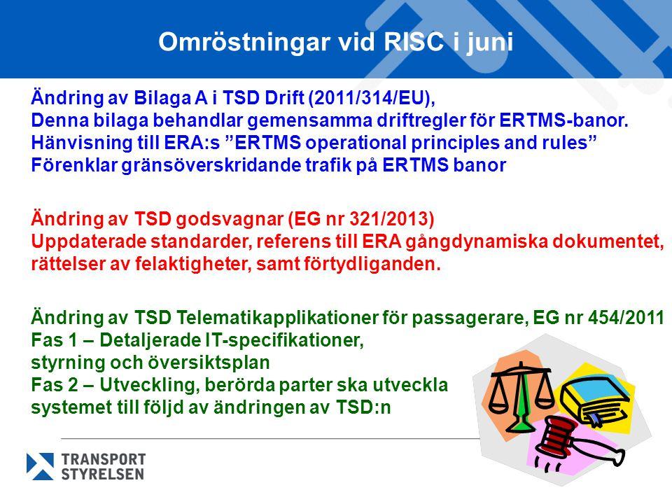Omröstningar vid RISC i juni Ändring av Bilaga A i TSD Drift (2011/314/EU), Denna bilaga behandlar gemensamma driftregler för ERTMS-banor. Hänvisning