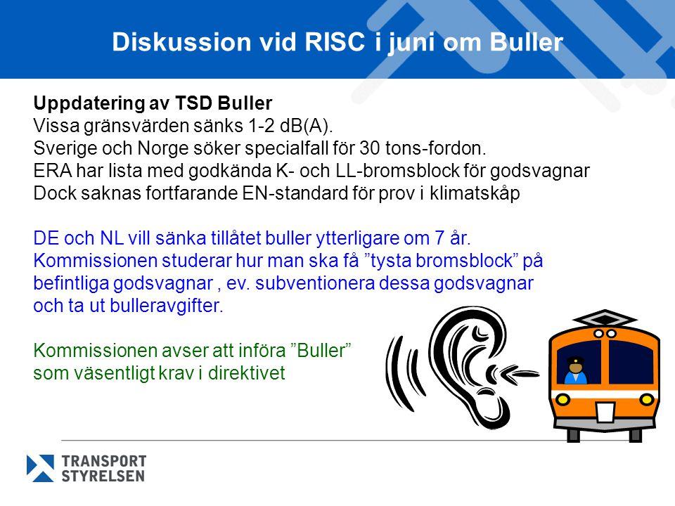 Diskussion vid RISC i juni om Buller Uppdatering av TSD Buller Vissa gränsvärden sänks 1-2 dB(A). Sverige och Norge söker specialfall för 30 tons-ford